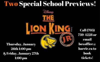 Two Chances for Schools to Come and See The Lion King Jr.!